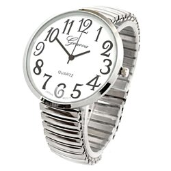 Silver Super Size Round Face Stretch Band Geneva Women's Watch