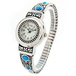 Silver Turquoise Decorated Women's Semi-Stretch Bracelet Watch