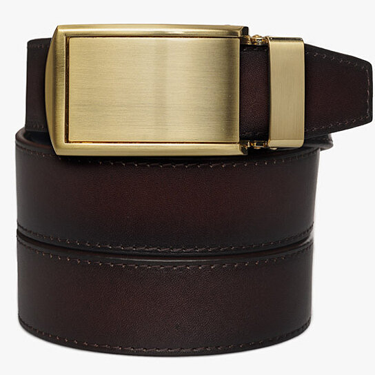 buy mahogany premium grain leather belt by slidebelts