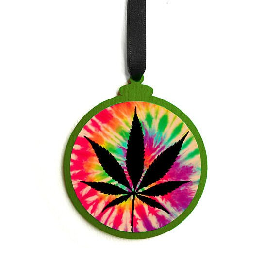 buy wooden tie dye marijuana leaf christmas ornament