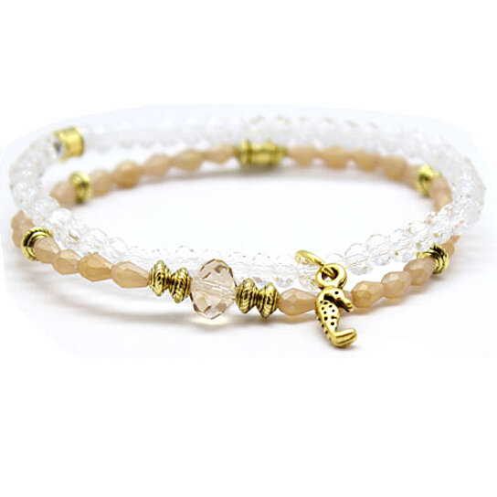 buy chavez for charity beige and clear glass beaded