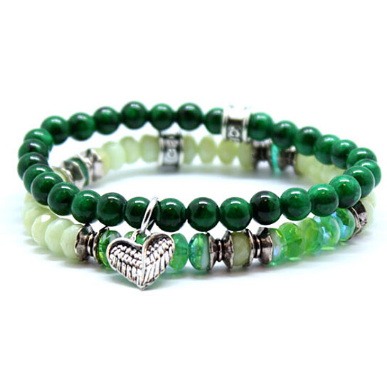 buy chavez for charity green beaded stretch bracelet set