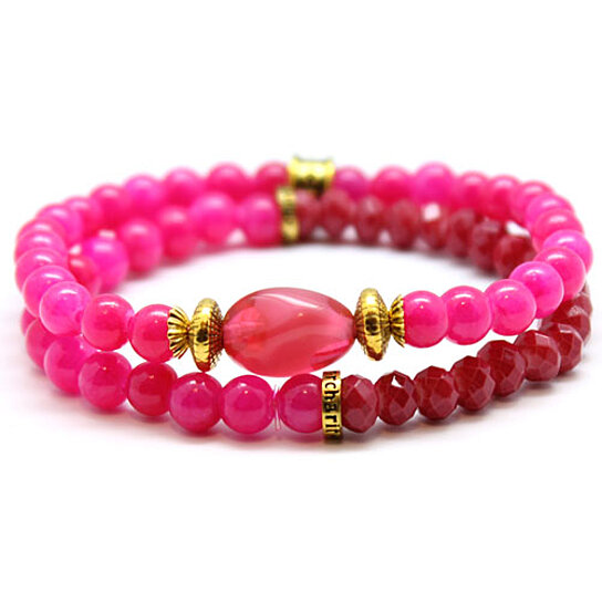 buy chavez for charity pink beaded bracelet set by