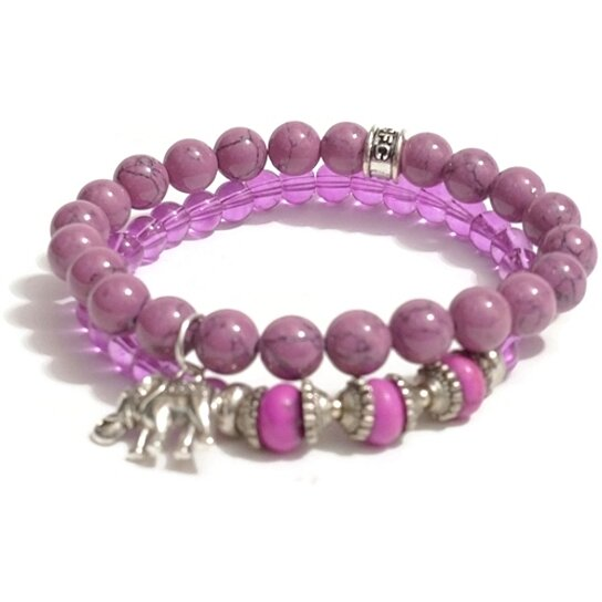 buy chavez for charity pink stretch beaded bracelet set