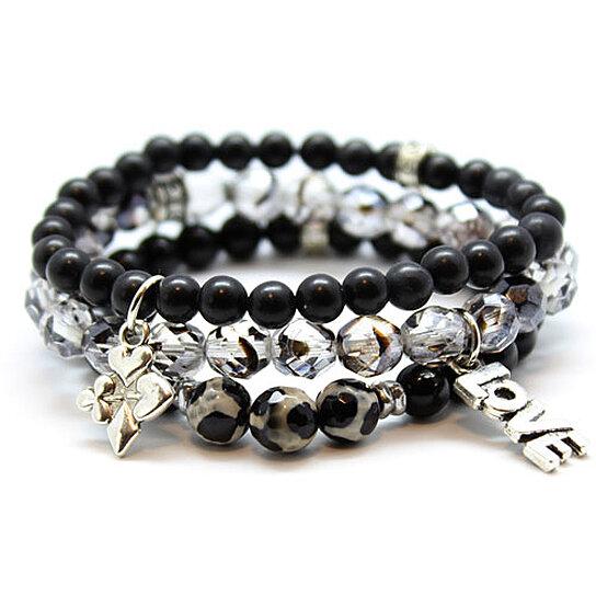 buy chavez for charity set of black beaded bracelets