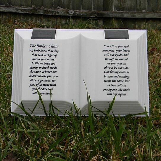 Solar Lighted Open Book with Broken Chain memorial poem