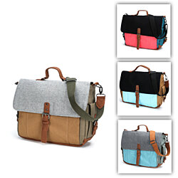 Canvas Messenger Bag with Laptop Pouch