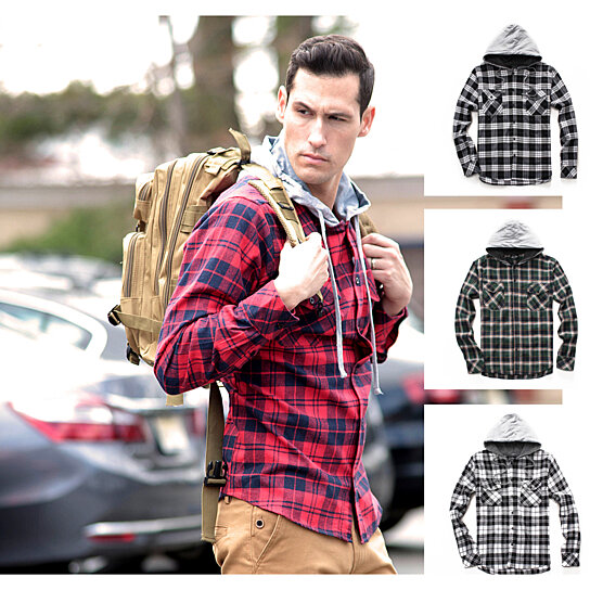 d40aeb6469 Buy Hooded Flannel Shirt by Something Strong on OpenSky