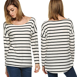 Loose Fitting Striped O-Neck Top