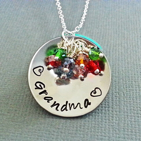 Buy cupped personalized grandma necklace personalized for Grandmother jewelry you can add to