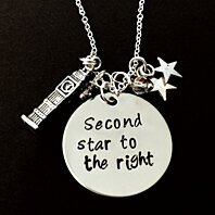 "Disney inspired Peter Pan Inspired Necklace-""Second Star To The Right""- Hand stamp Peter Pan Necklace-crystals, for women or girls ."