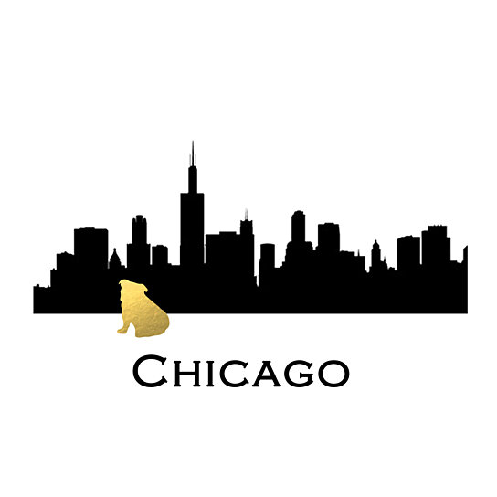 Buy Chicago Skyline Bulldog Gold Foil Print Bulldog Art Print Dog Gold Foil Art Print