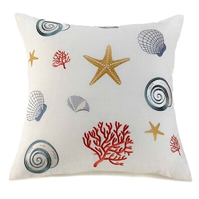 "Sea Shell Throw Pillow 20"" Beach Home Decor~White"