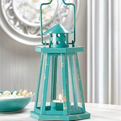 Turquoise Metal Lighthouse Candle Lantern Tealight Holder Beach Decor