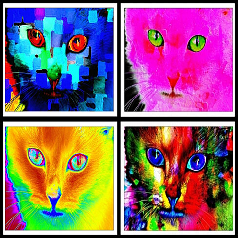 Retro Kitty 5x7 Art Prints Set Of 4