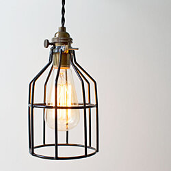 Industrial Black Cage Pendant Light
