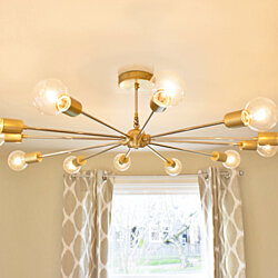 Large Modern Brass Sputnik Chandelier