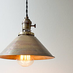 Industrial Brass Cone Pendant Light