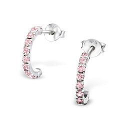 Silver Curved Ear Studs with Crystal