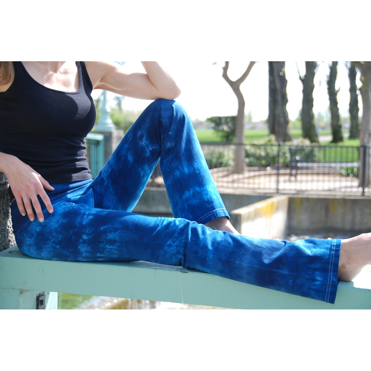 Tall Cosmic Blue Tie Dye Yoga Pants Including Extra Long
