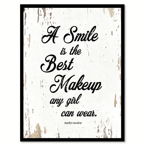 A Smile Is The Best Makeup Any Girl Can Wear - Marilyn Monroe Saying Canvas Print with Picture Frame Home Decor Wall Art Gifts