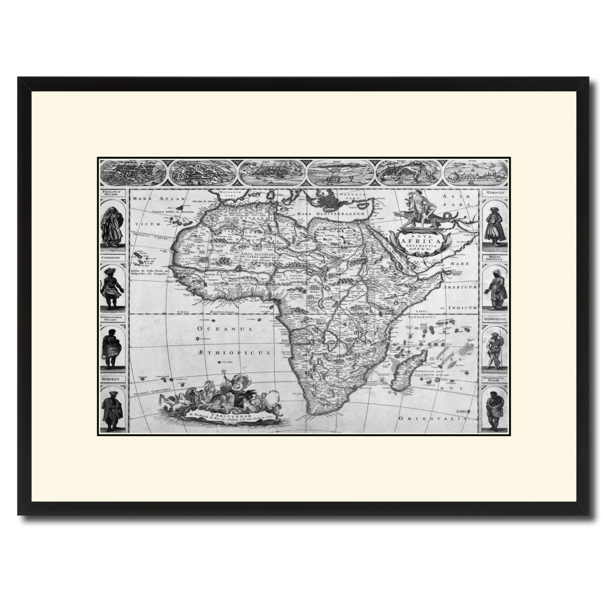 Africa Vintage B&w Map Canvas Print With Picture Frame Home Decor Wall Art Gift Ideas
