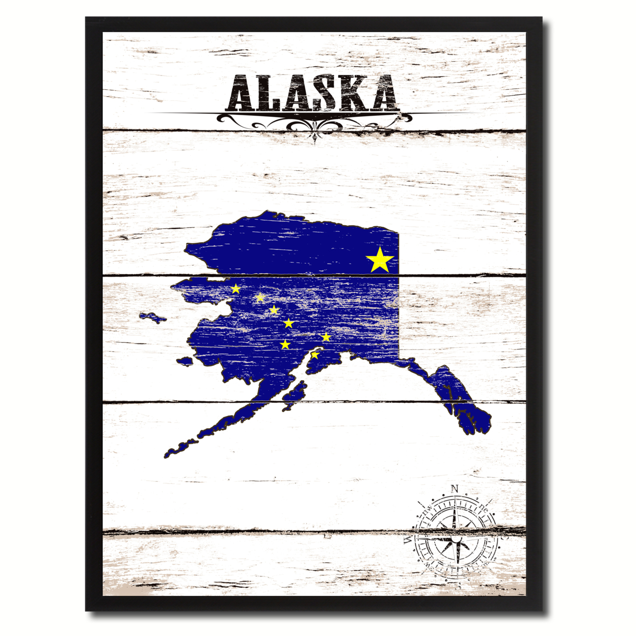Alaska State Flag Canvas Print With Picture Frame Home Decor Wall Art Gifts