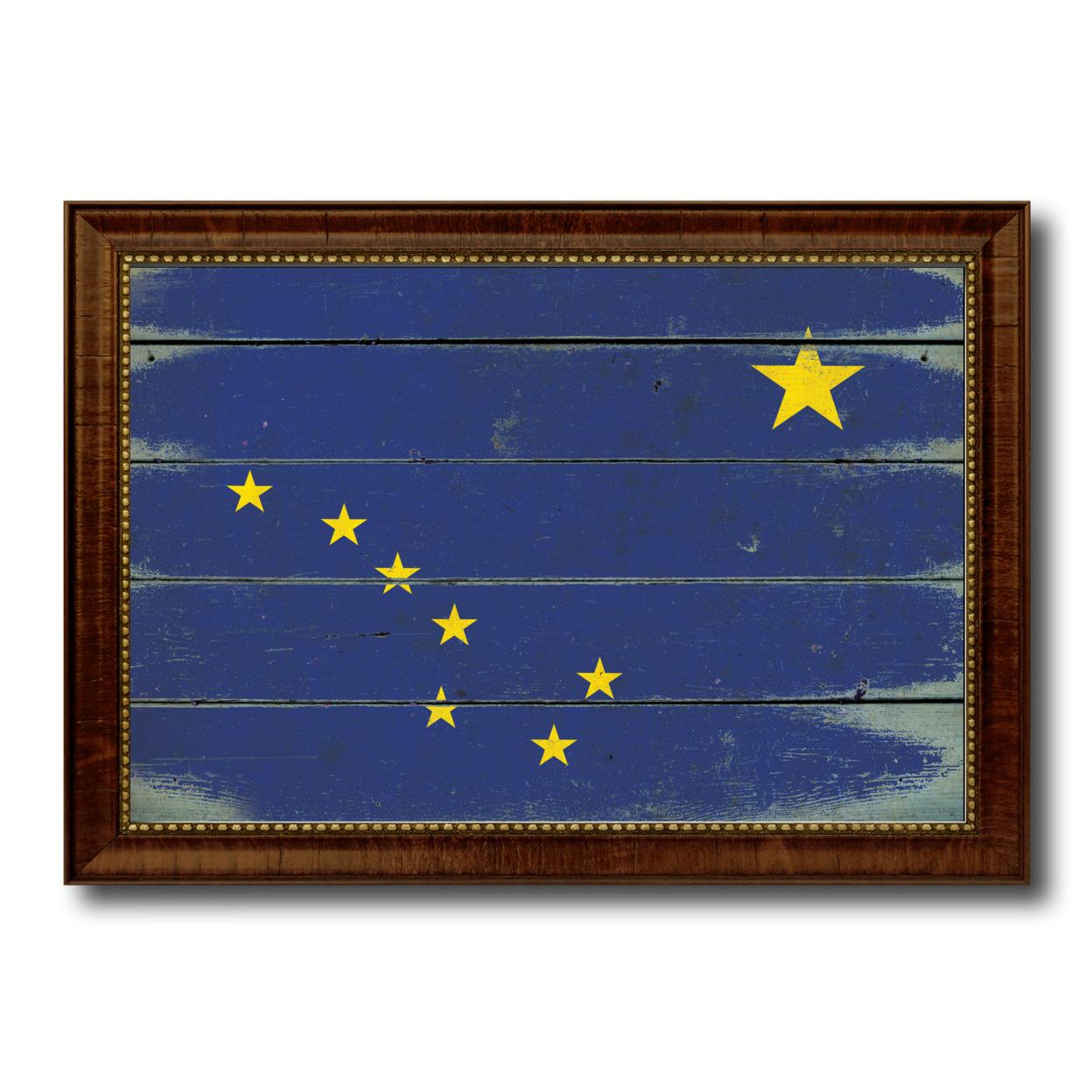 "Alaska Vintage Flag Canvas Print, Picture Frame Gift Ideas Home D+cor Wall Art Decoration 15\""x21\"""