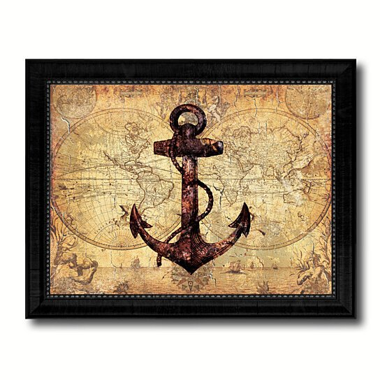 Vintage Nautical Bedding: Buy Anchor Vintage Nautical Old Map Canvas Print With