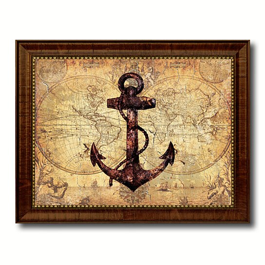 Vintage Anchor Wall Decor : Buy anchor vintage nautical old map canvas print with