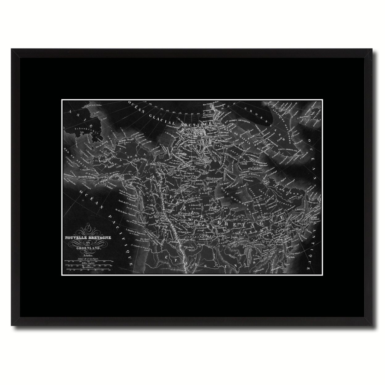 Canada Alaska Vintage Monochrome Map Canvas Print With Gifts Picture Frame Home Decor Wall Art