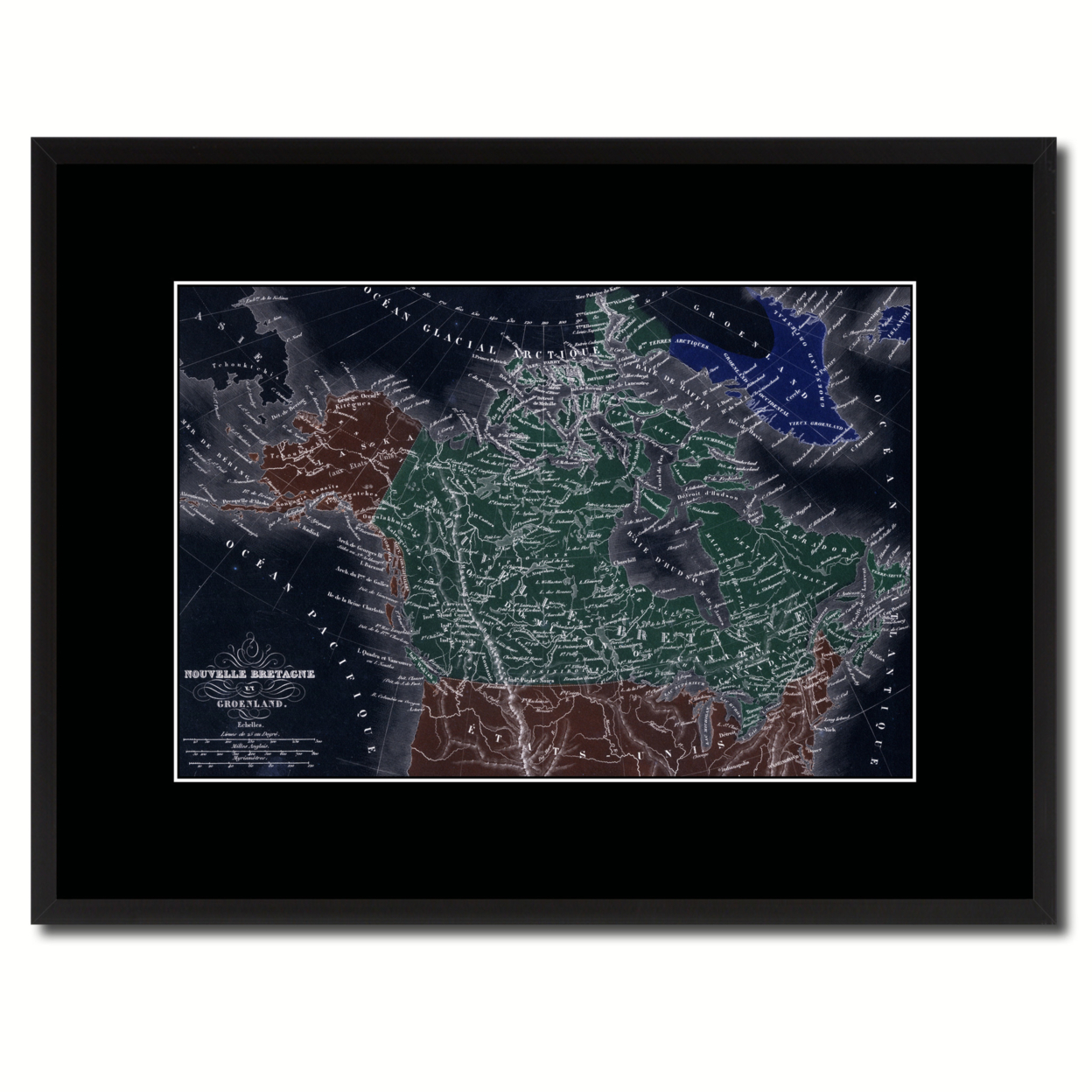 Canada Alaska Vintage Vivid Color Map Canvas Print With Picture Frame Home Decor Wall Art Office Decoration Gift Ideas