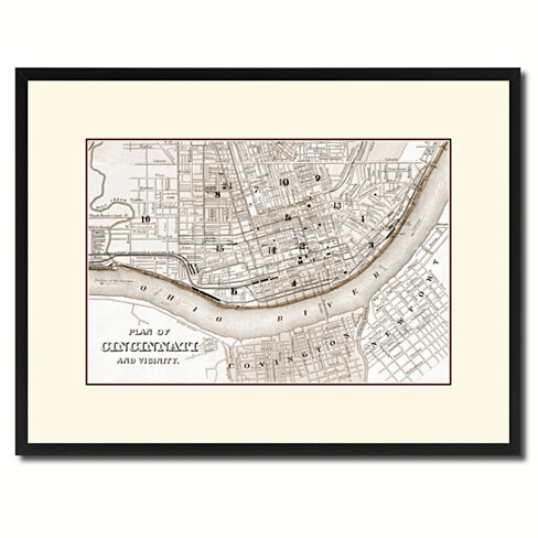 Cincinnati Vintage Sepia Map Canvas Print with Picture Frame Gifts Home Decor Wall Art Decoration