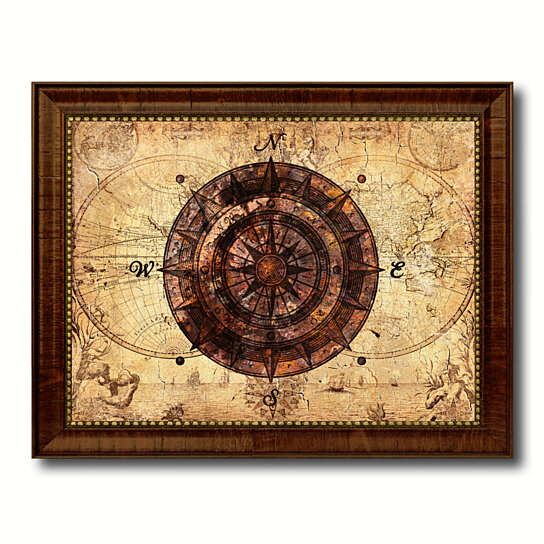 Buy Compass Vintage Nautical Old Map Canvas Print With Picture Frame Home Decor Wall Art Decoration Display Gift Ideas By Spotcolorart Usa Moon On Dot Bo