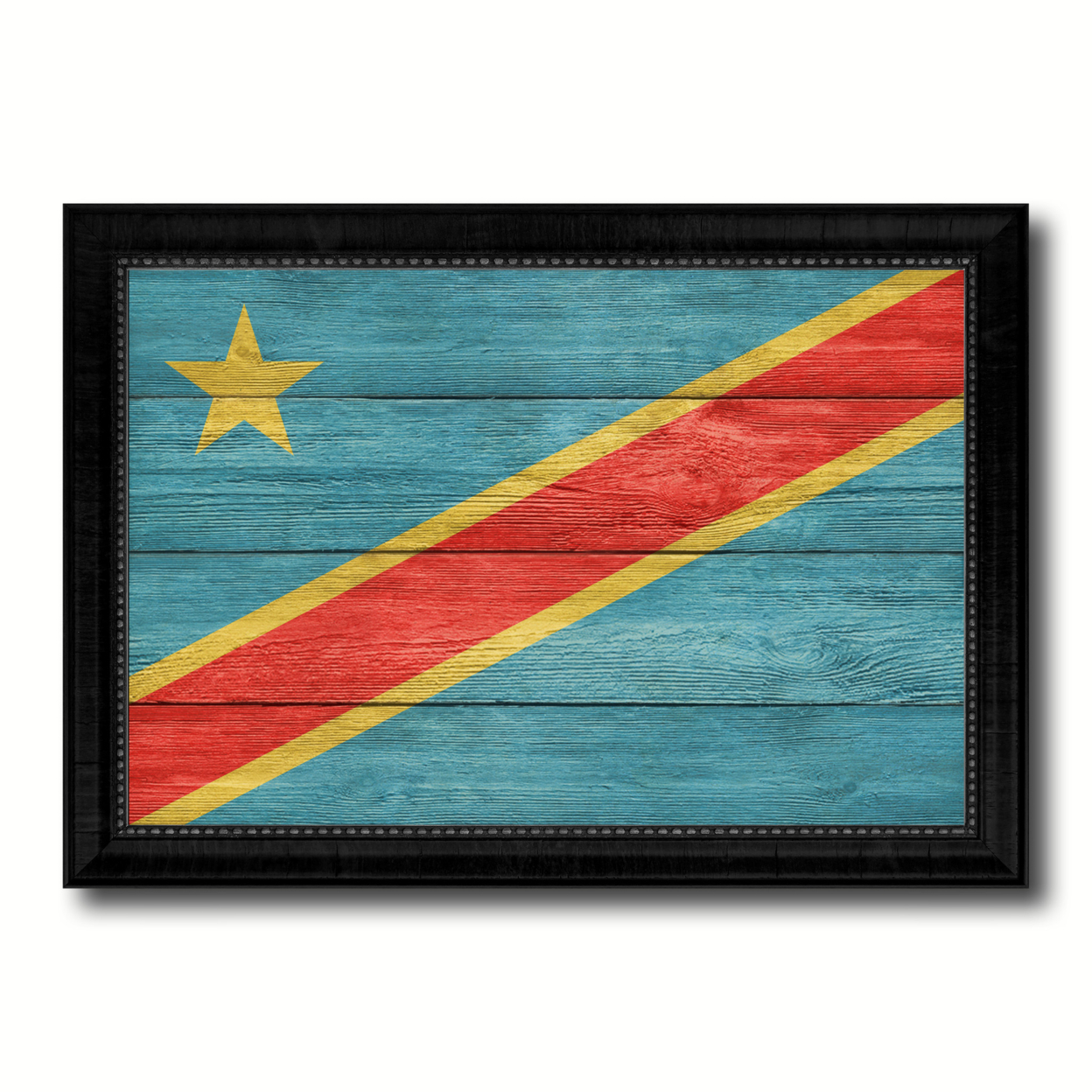 Congo Democratic Republic Country Flag Texture Canvas Print With Picture Frame Home Decor Wall Art Gift Ideas