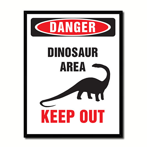 Danger Dinosaur Area Danger Sign Gift Ideas Wall Art Home Decor Gift Ideas Canvas Pint