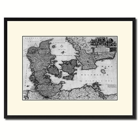 Denmark Centuries Vintage B&W Map Canvas Print with Picture Frame Home Decor Wall Art Gift Ideas