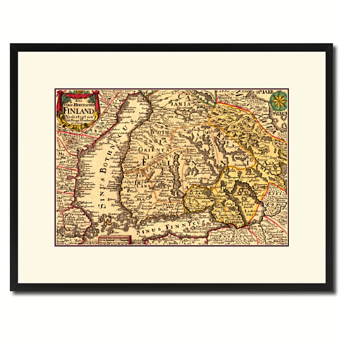 Finland Centuries Vintage Antique Map Wall Art Home Decor Gift Ideas Canvas Print Custom Picture Frame