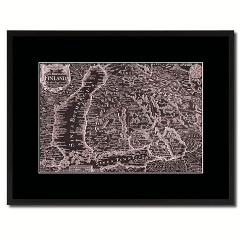 Finland Centuries Vintage Map Canvas Print with Picture Frame Home Decor Wall Art Decoration Gifts