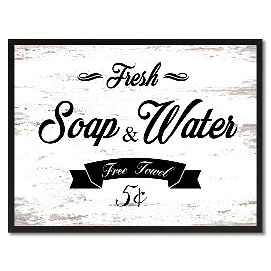 Buy Fresh Soap Amp Water Vintage Sign White Canvas Print