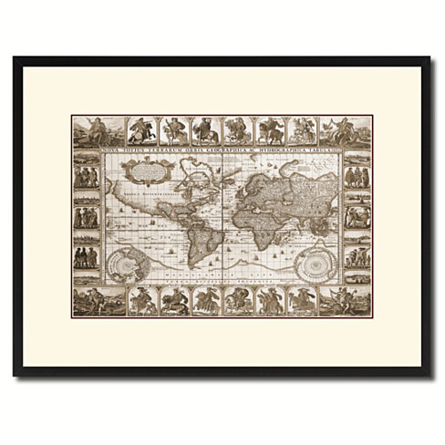 Geographic Vintage Sepia Map Canvas Print with Picture Frame Gifts Home Decor Wall Art Decoration