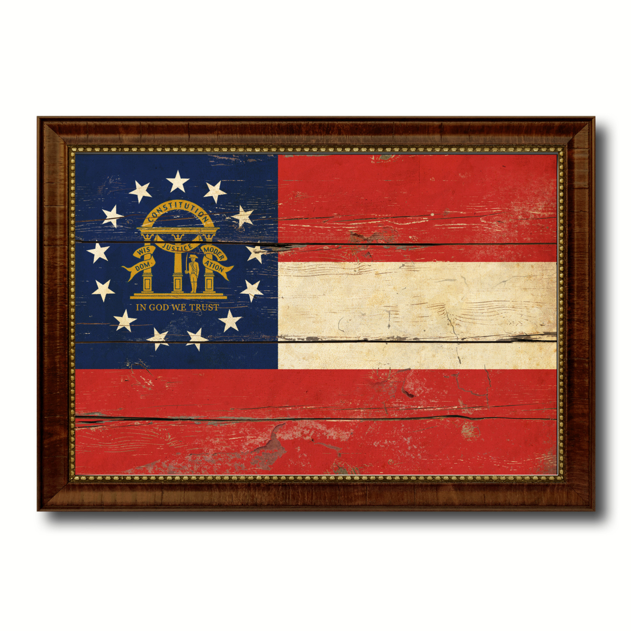 Georgia Vintage Flag Canvas Print With Picture Frame Gift Ideas Home Decor Wall Art Decoration