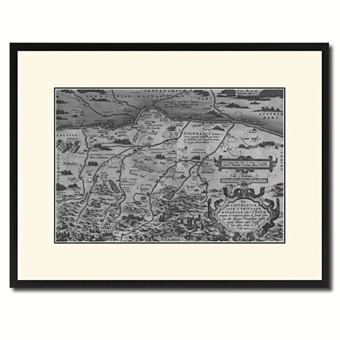 Germany Bavaria Vintage B&W Map Canvas Print with Picture Frame Home Decor Wall Art Gift Ideas
