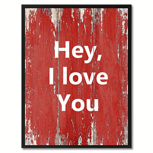 Hey I Love You Saying Red Canvas Print with Black Picture Frame Home Decor Wall Art Gift Ideas 120366