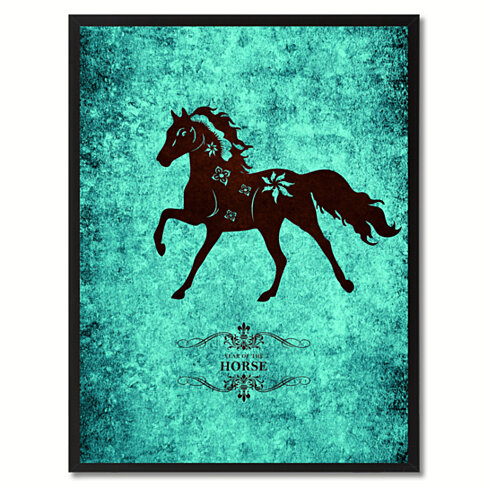 Horse Chinese Zodiac Canvas Print with Black Picture Frame Home Decor Wall Art Gift