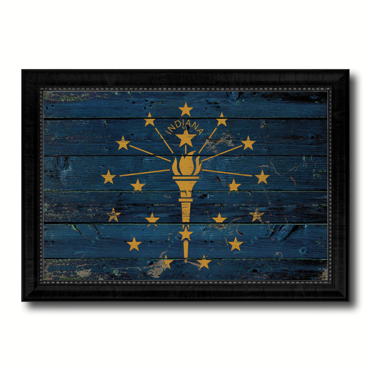 """Indiana Vintage Flag Canvas Print, Picture Frame Home D+cor Wall Art Gift 15\""""x21\"""""""