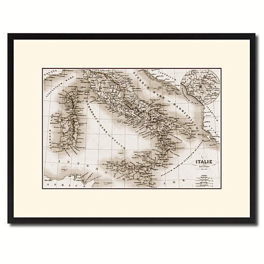 Italy Map Wall Art.Buy Italy Rome Vintage Sepia Map Canvas Print With Picture Frame