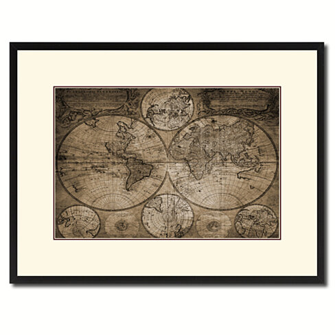 Johann Baptist Homann Vintage Sepia Map Canvas Print with Picture Frame Gifts Home Decor Wall Art Decoration