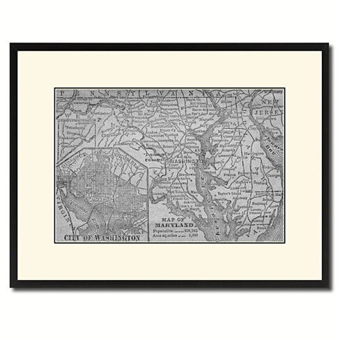 Maryland Vintage B&W Map Canvas Print with Picture Frame Home Decor Wall Art Gift Ideas