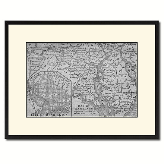 Buy Maryland Vintage BW Map Canvas Print With Picture Frame Home Decor Wall Art Gift Ideas By SpotColorArt On Dot Bo